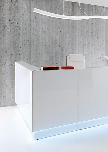 White reception desks