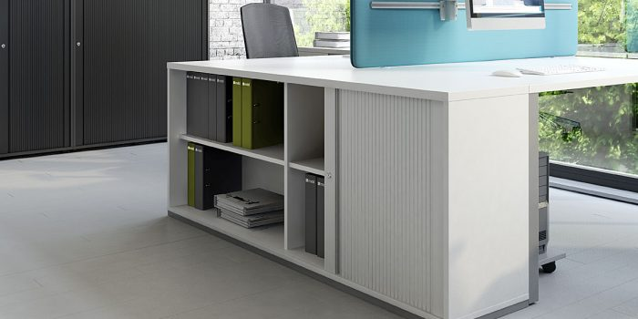 White sliding door cabinet desk