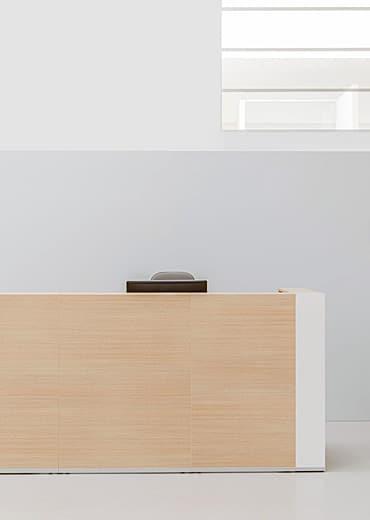 Wood reception desks