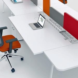 White desk with pull out top