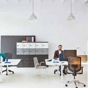 Bench desk with staff lockers