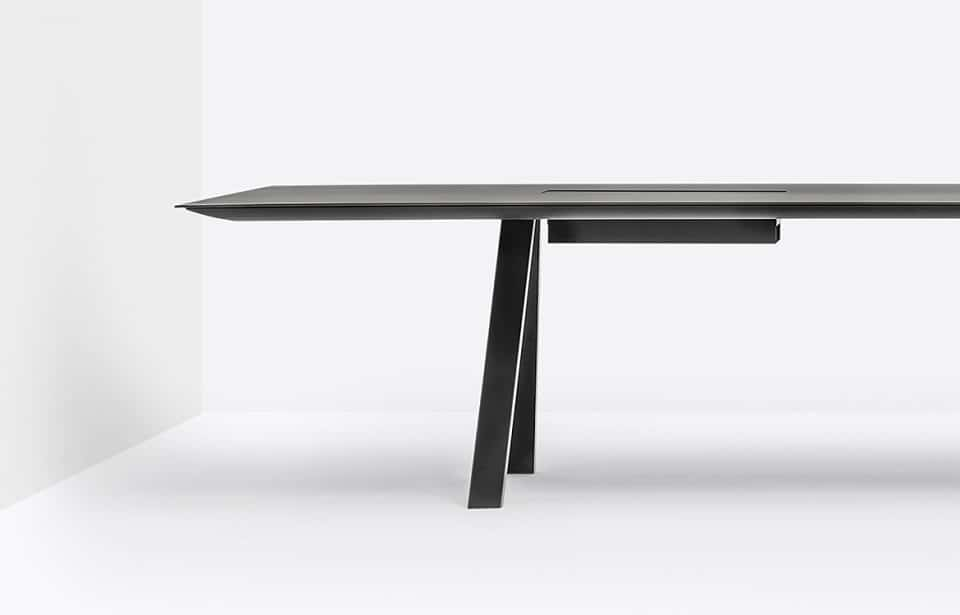 black conference table with metal legs