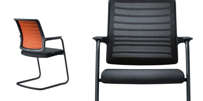 Black meeting chair with mesh back