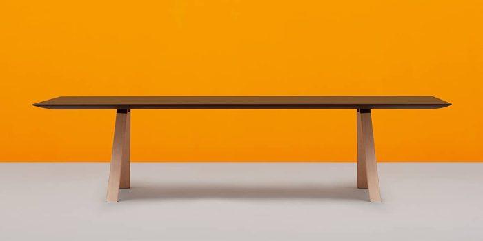 black table with oak wood legs