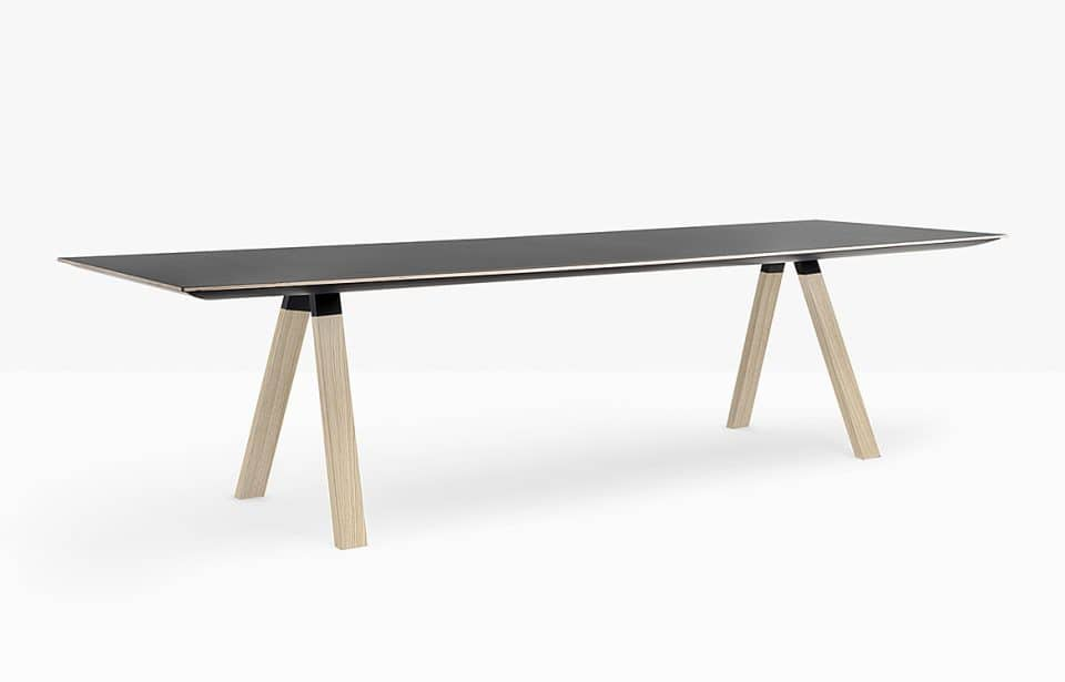 Boardroom table with black top