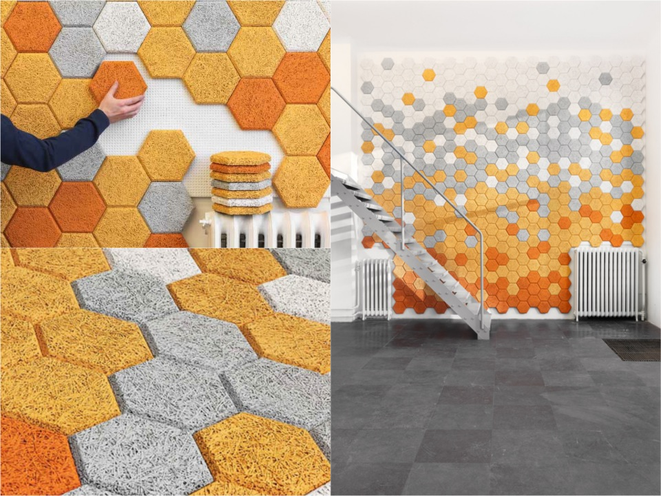 colourful hexagon tiles form us with love