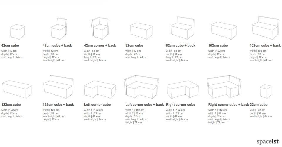 cube sizes shapes 2