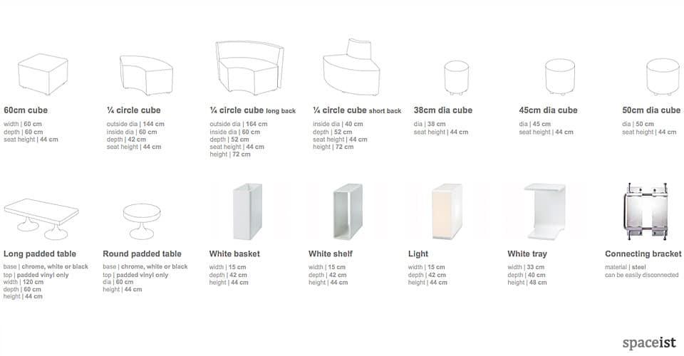 cube sizes shapes 3