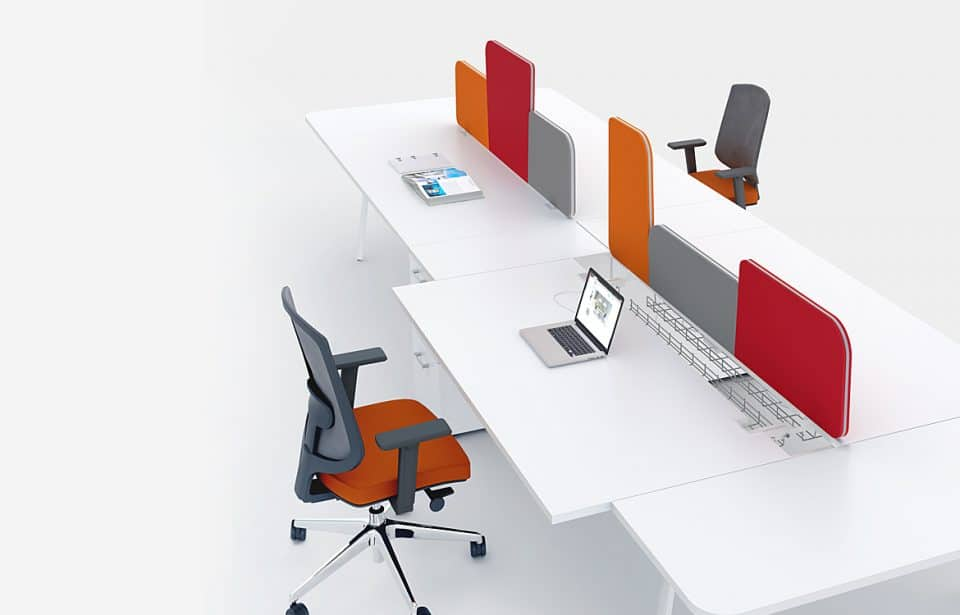Desk with colourful screens