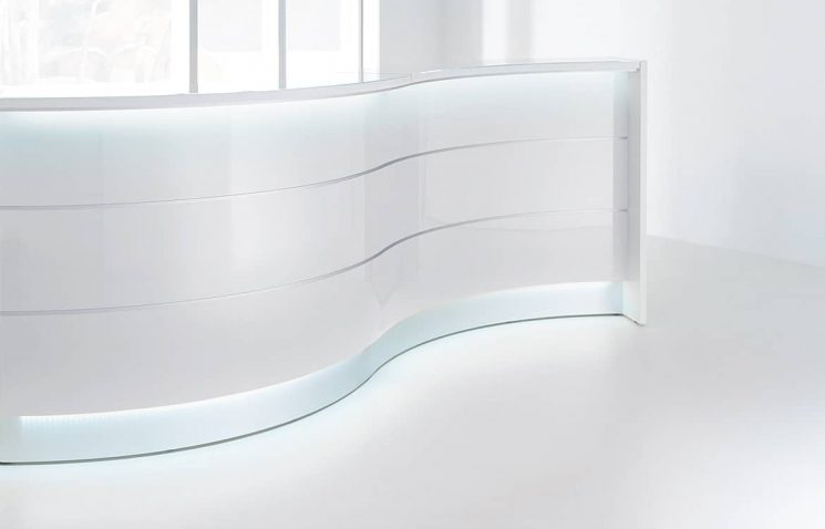 Curved reception desk with light