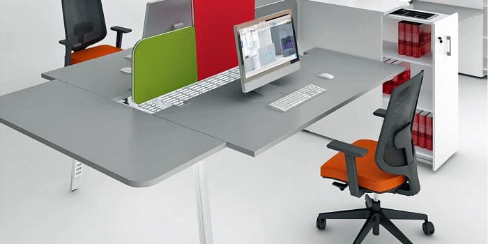 Grey desk with pull out top