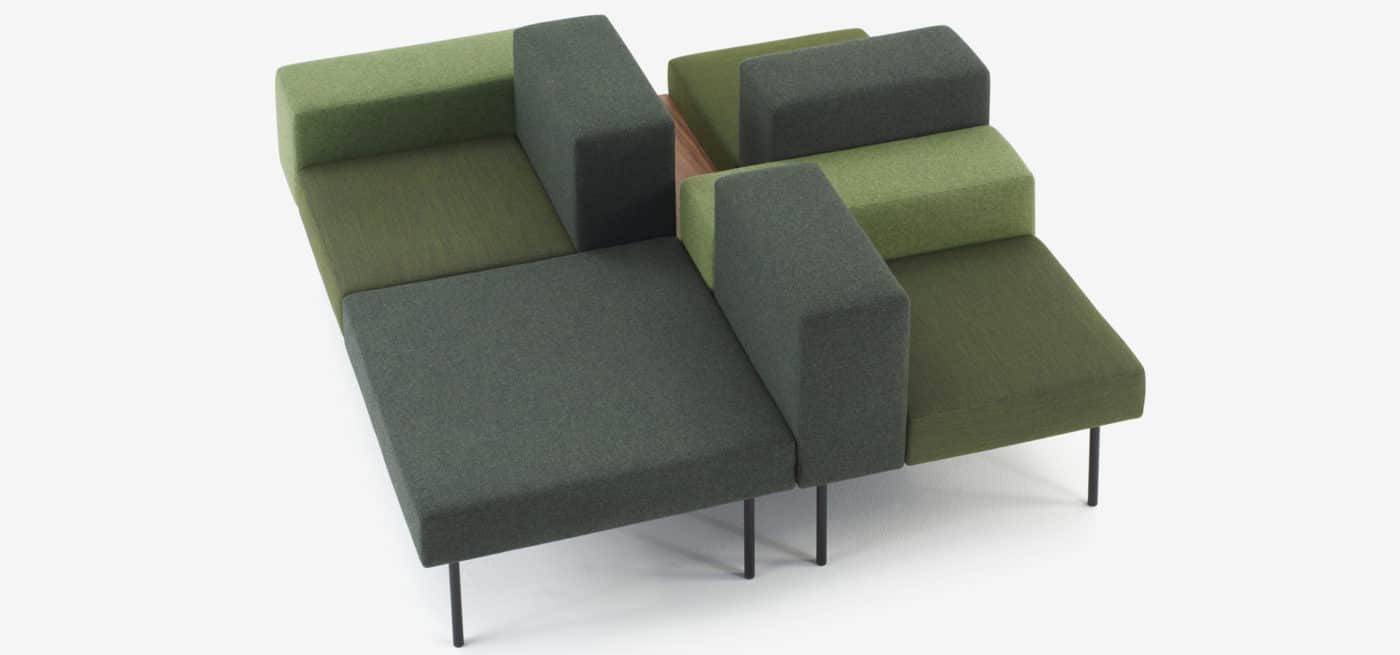 spaceist 102 modular sofa - square green