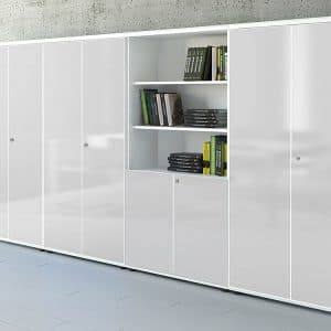 Large white glass office cabinet