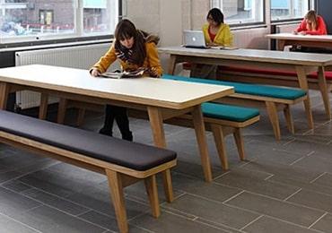 Long canteen tables