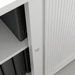 Office cabinet with sliding tambour doors