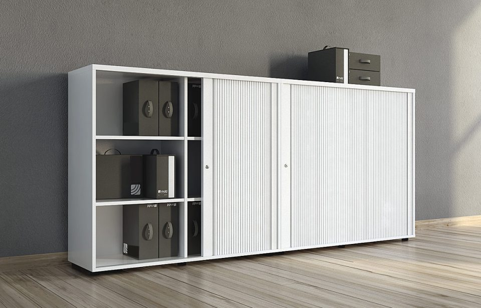 White cabinet with sliding door
