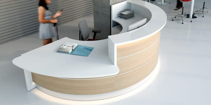 Half circle reception desk with oak front