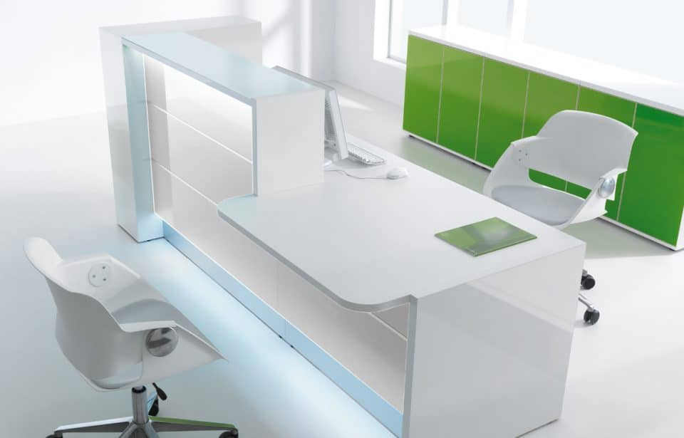 White reception counter with table