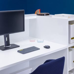 Reception desk with integrated storage