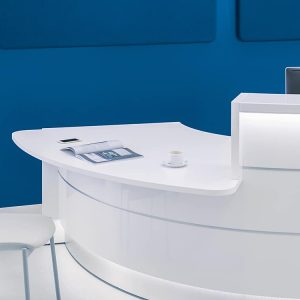 Reception desk with wheelchair table