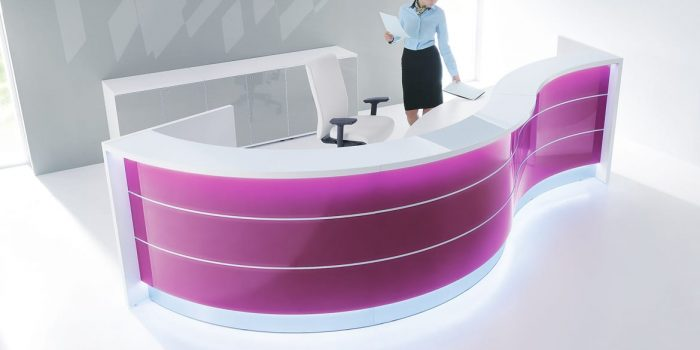 Curvy pink reception desk