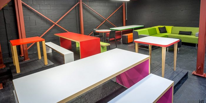 Colourful Canteen Tables in the Spaceist Showroom