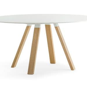 Round meeting table with oak legs