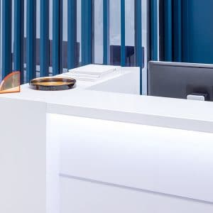 Small reception desk detail