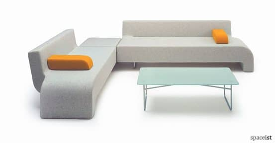 30 grey fabric curvy corner sofa