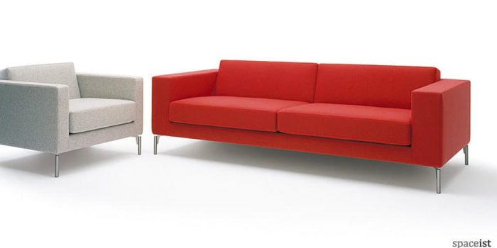 34 red fabric office reception sofas