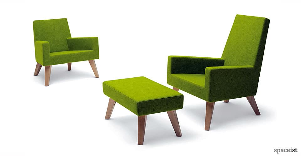 spaceist 44 green fabric wood leg reception chairs