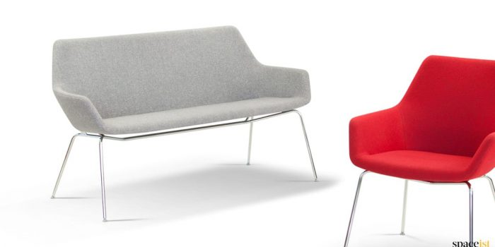 Simple and compact grey office sofa