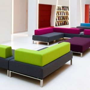 93 green and purple fabric reception sofas