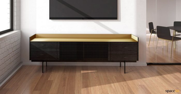 Dark oak cabinet with brass top