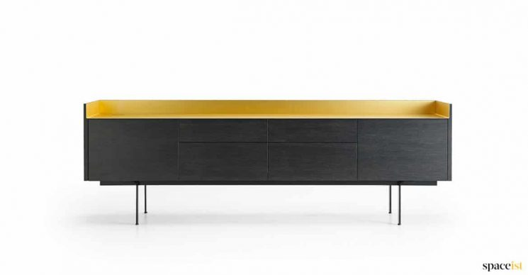 Dark wood + brass meeting side board