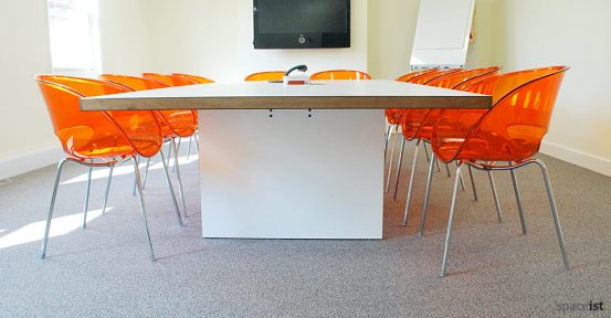 agency inc white meeting room table closeup