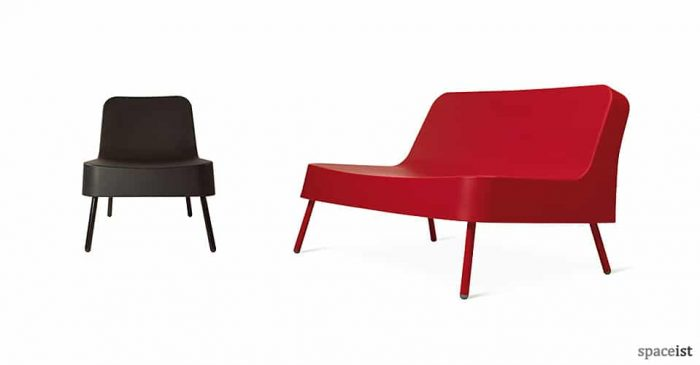 Bob plastic reception sofa in red, white and dark grey