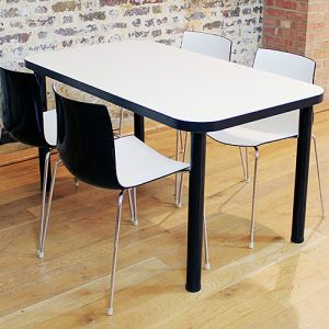 Edge canteen table with black legs and edge