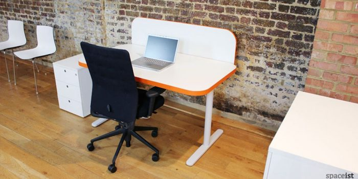 edge white orange office desk