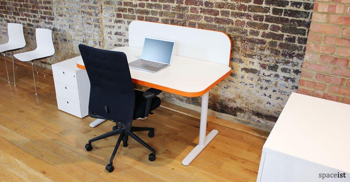 spaceist edge white orange office desk