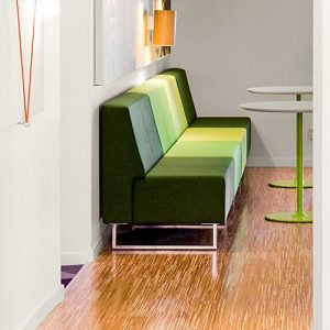 green stripey modular reception sofa