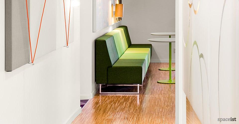 green stripey modular reception sofa