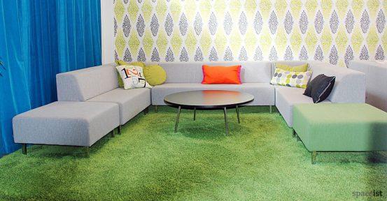 grey booth sofa