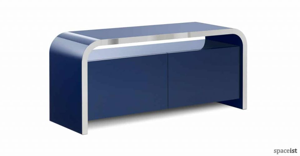 Hi-line dark blue low reception storage
