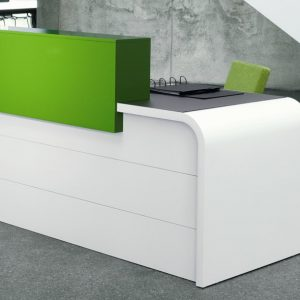 Hi-line white desk with a lime green counter top