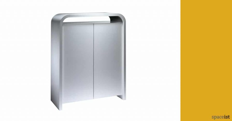 Hi-line tall silver office cabinet with rounded corners