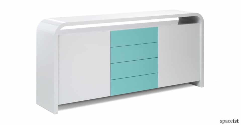 Hi-line white clinic style low reception storage