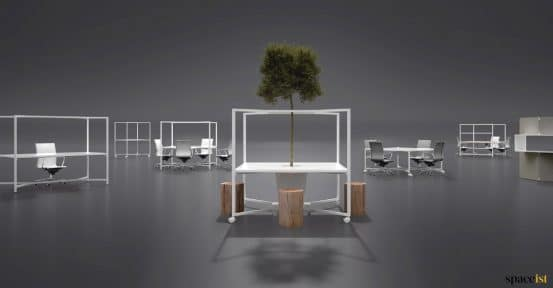 hub desk range with tree stools