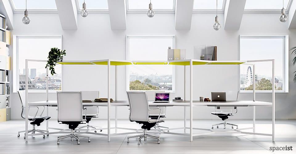spaceist hub four person desk light agile workplace design