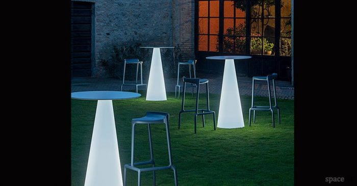 ikon white bar cone table with interior light